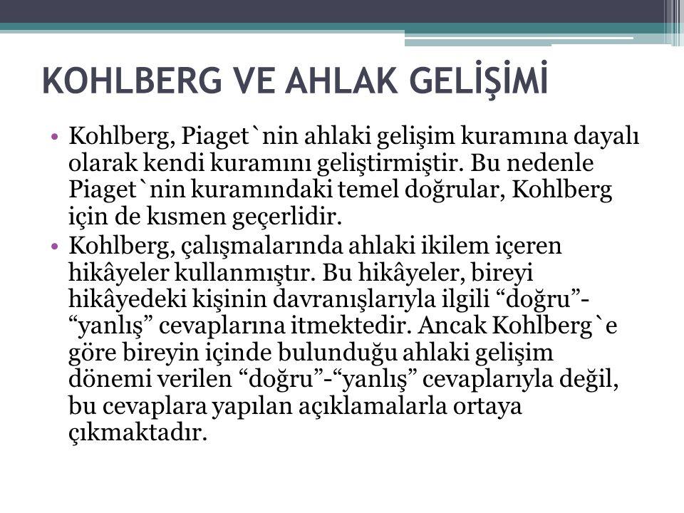 KOHLBERG VE AHLAK GELİŞİMİ Kohlberg, Piaget`nin ahlaki gelişim kuramına dayalı olarak kendi kuramını geliştirmiştir.