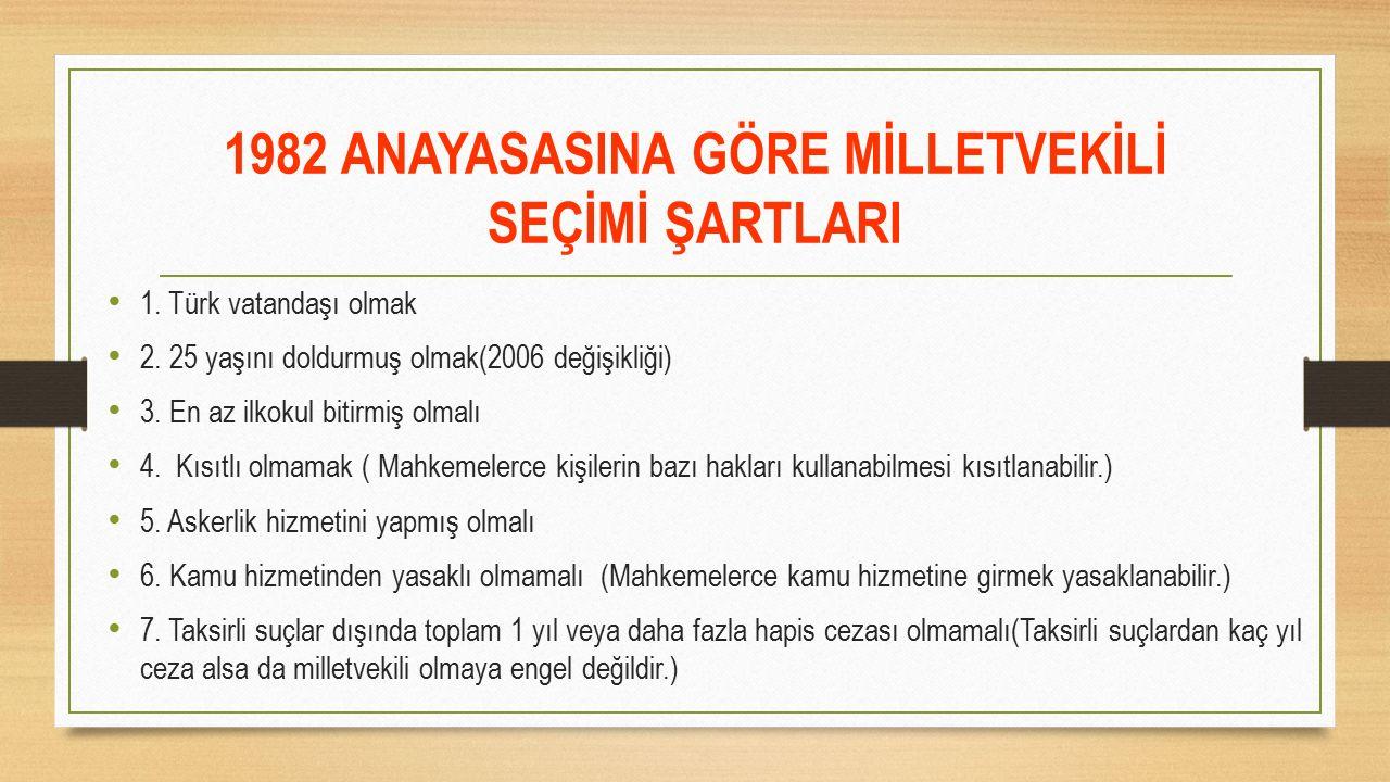 1982 ANAYASASINA GÖRE MİLLETVEKİLİ SEÇİMİ ŞARTLARI 1. Türk vatandaşı olmak 2. 25 yaşını doldurmuş olmak(2006 değişikliği) 3. En az ilkokul bitirmiş ol