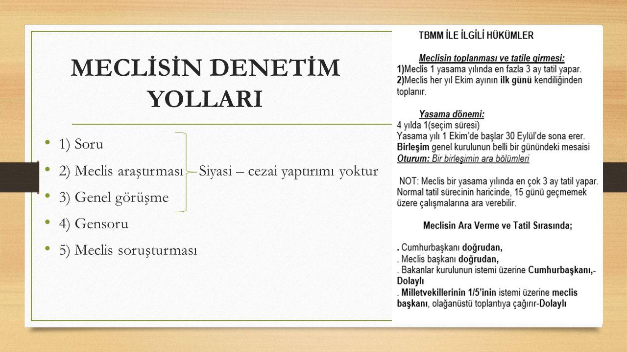 MECLİSİN DENETİM YOLLARI 1) Soru 2) Meclis araştırması Siyasi – cezai yaptırımı yoktur 3) Genel görüşme 4) Gensoru 5) Meclis soruşturması