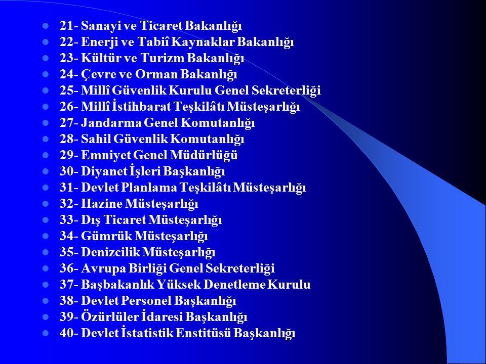 (I) SAYILI CETVEL GENEL BÜTÇE KAPSAMINDAKİ KAMU İDARELERİ 1- Türkiye Büyük Millet Meclisi 2- Cumhurbaşkanlığı 3- Başbakanlık 4- Anayasa Mahkemesi 5- Yargıtay 6- Danıştay 7- Sayıştay 8- Uyuşmazlık Mahkemesi 9- Yüksek Seçim Kurulu 10- Adalet Bakanlığı 11- Millî Savunma Bakanlığı 12- İçişleri Bakanlığı 13- Dışişleri Bakanlığı 14- Maliye Bakanlığı 15- Millî Eğitim Bakanlığı 16- Bayındırlık ve İskân Bakanlığı 17- Sağlık Bakanlığı 18- Ulaştırma Bakanlığı 19- Tarım ve Köyişleri Bakanlığı 20- Çalışma ve Sosyal Güvenlik Bakanlığı