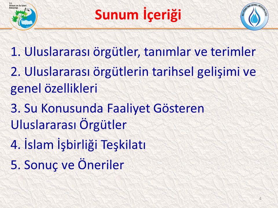 İslam İşbirliği Teşkilatı (İİT) İİT SU VİZYONU BELGESİ -7 Bölüm ve 55 sayfalık doküman: -1.