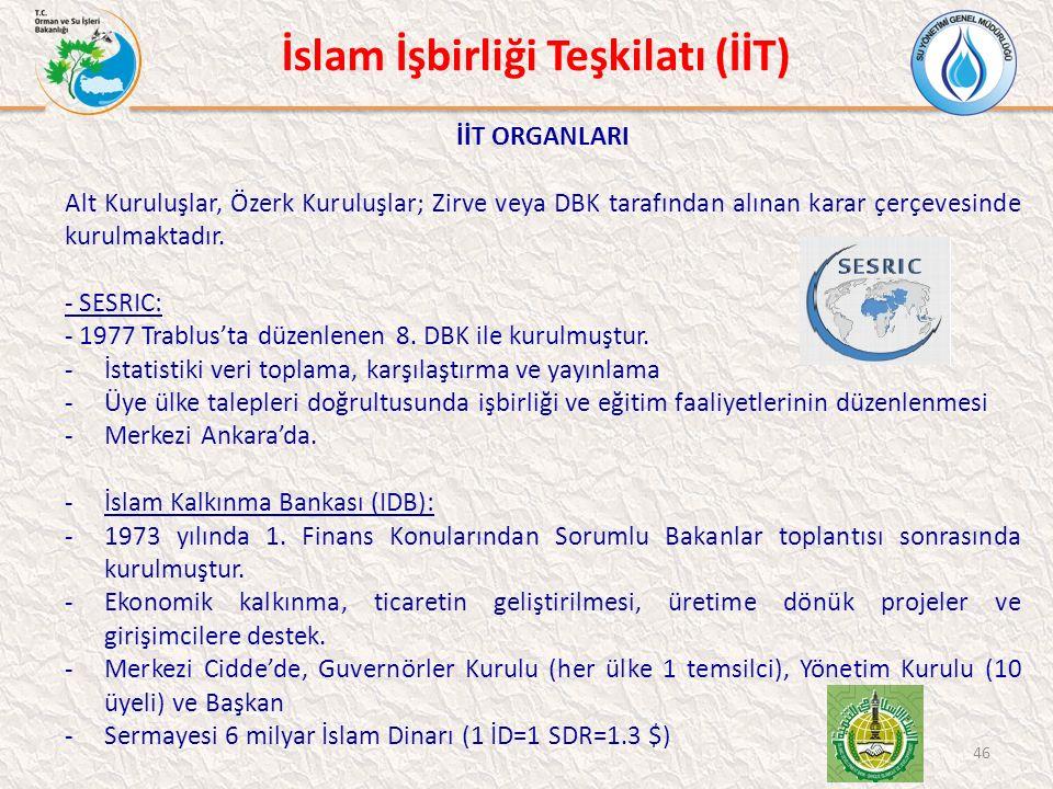 İslam İşbirliği Teşkilatı (İİT) İİT ORGANLARI Alt Kuruluşlar, Özerk Kuruluşlar; Zirve veya DBK tarafından alınan karar çerçevesinde kurulmaktadır.