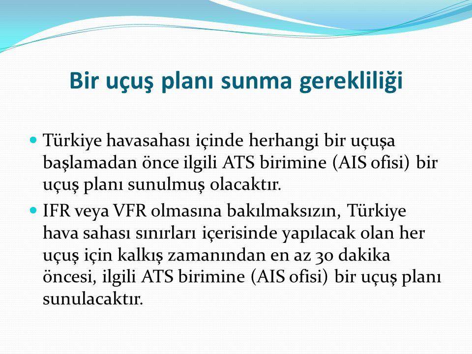 Bir uçuş planı sunma gerekliliği Türkiye havasahası içinde herhangi bir uçuşa başlamadan önce ilgili ATS birimine (AIS ofisi) bir uçuş planı sunulmuş