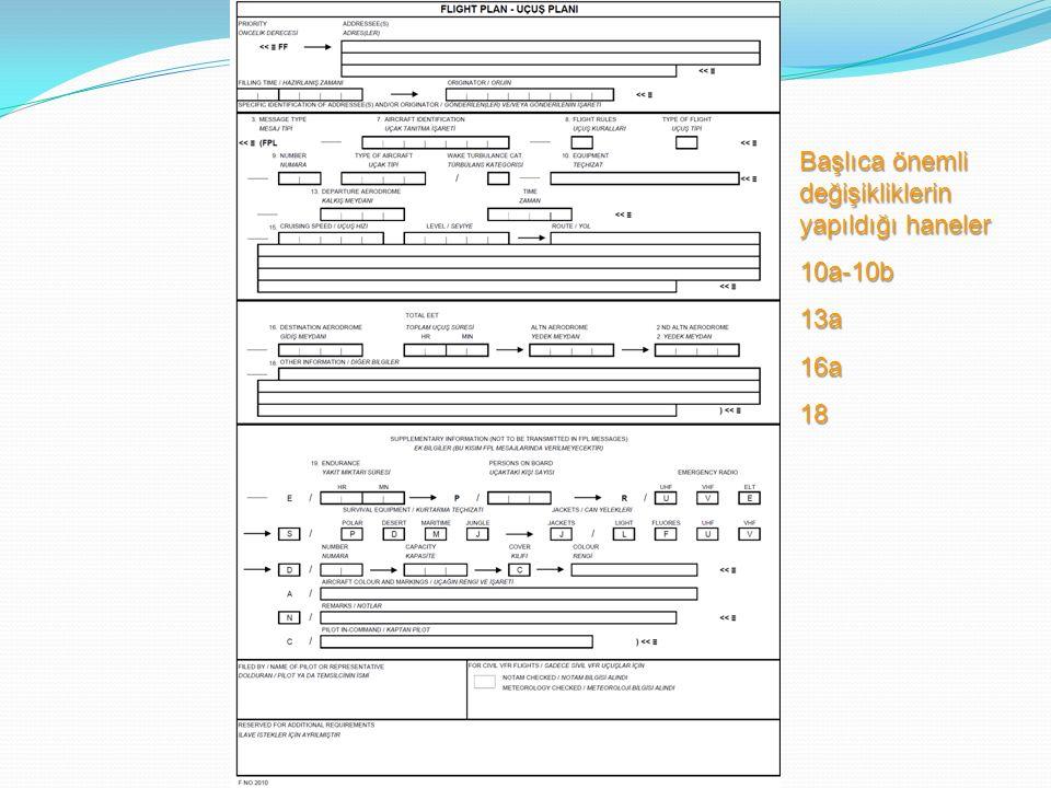 Başlıca önemli değişikliklerin yapıldığı haneler 10a-10b13a16a18