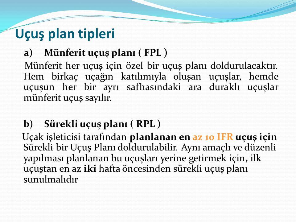 Uçuş plan tipleri a)Münferit uçuş planı ( FPL ) Münferit her uçuş için özel bir uçuş planı doldurulacaktır. Hem birkaç uçağın katılımıyla oluşan uçuşl