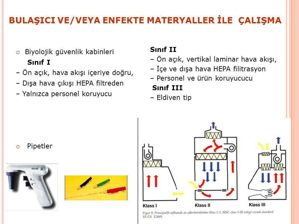 BULAŞICI VE/VEYA ENFEKTE MATERYALLER İLE ÇALIŞMA Biyolojik güvenlik kabinleri Sınıf I – Ön açık, hava akışı içeriye doğru, – Dışa hava çıkışı HEPA filtreden – Yalnızca personel koruyucu Pipetler Sınıf II – Ön açık, vertikal laminar hava akışı, – İçe ve dışa hava HEPA filitrasyon – Personel ve ürün koruyucucu Sınıf III – Eldiven tip