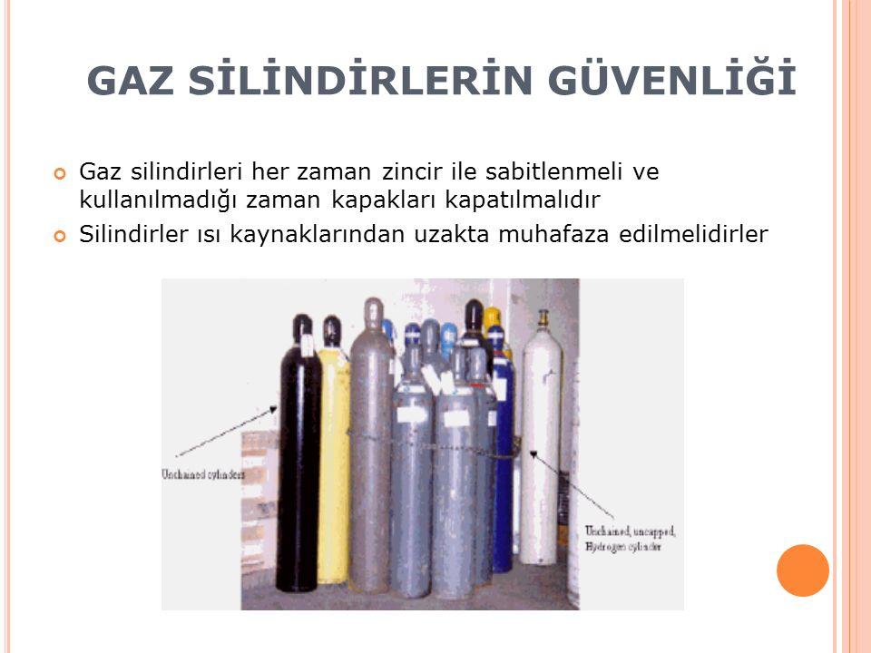 GAZ SİLİNDİRLERİN GÜVENLİĞİ Gaz silindirleri her zaman zincir ile sabitlenmeli ve kullanılmadığı zaman kapakları kapatılmalıdır Silindirler ısı kaynaklarından uzakta muhafaza edilmelidirler
