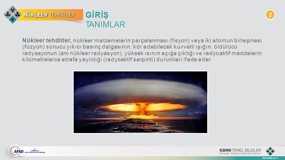 GİRİŞ TANIMLAR Nükleer tehditler, nükleer malzemelerin parçalanması (fisyon) veya iki atomun birleşmesi (füzyon) sonucu yıkıcı basınç dalgasının, kör