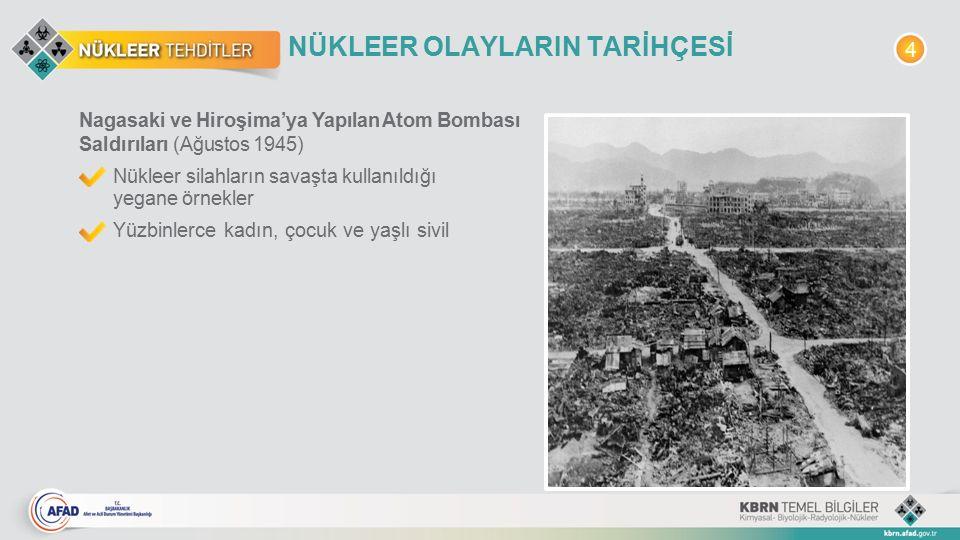 NÜKLEER OLAYLARIN TARİHÇESİ Nagasaki ve Hiroşima'ya Yapılan Atom Bombası Saldırıları (Ağustos 1945) Nükleer silahların savaşta kullanıldığı yegane örn