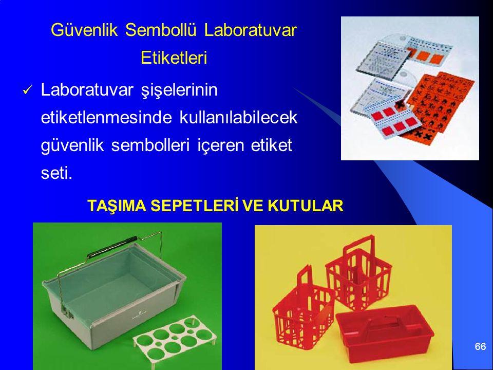 66 Güvenlik Sembollü Laboratuvar Etiketleri Laboratuvar şişelerinin etiketlenmesinde kullanılabilecek güvenlik sembolleri içeren etiket seti.