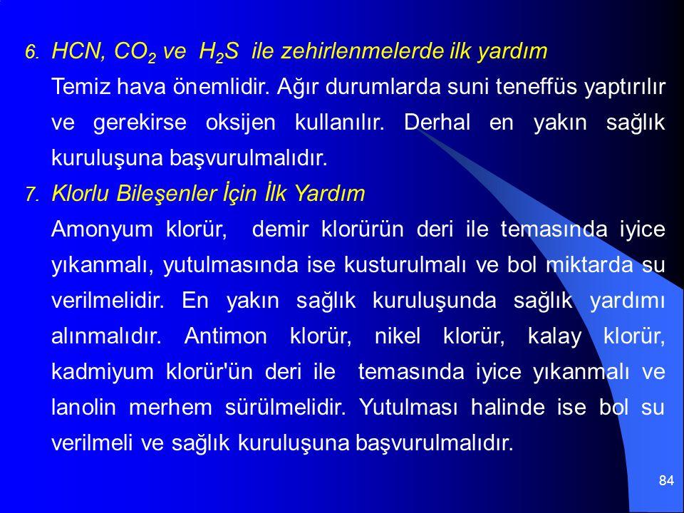 84 6. HCN, CO 2 ve H 2 S ile zehirlenmelerde ilk yardım Temiz hava önemlidir. Ağır durumlarda suni teneffüs yaptırılır ve gerekirse oksijen kullanılır