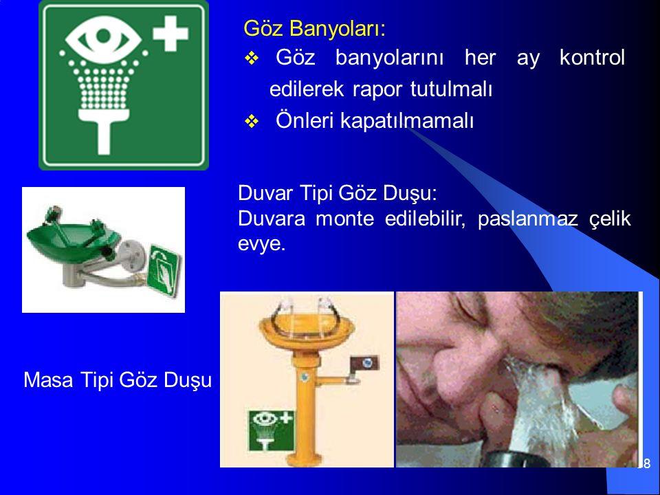 88 Göz Banyoları:  Göz banyolarını her ay kontrol edilerek rapor tutulmalı  Önleri kapatılmamalı Duvar Tipi Göz Duşu: Duvara monte edilebilir, paslanmaz çelik evye.