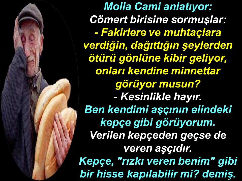 Molla Cami anlatıyor: Cömert birisine sormuşlar: - Fakirlere ve muhtaçlara verdiğin, dağıttığın şeylerden ötürü gönlüne kibir geliyor, onları kendine minnettar görüyor musun.