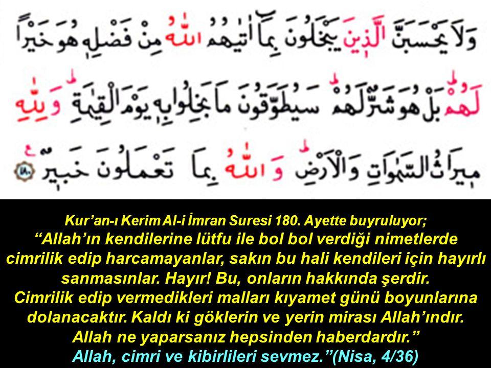 Kur'an-ı Kerim Al-i İmran Suresi 180.