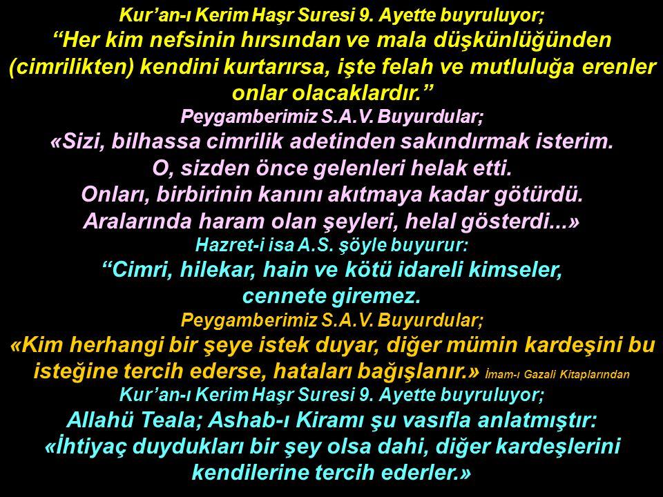 Kur'an-ı Kerim Haşr Suresi 9.