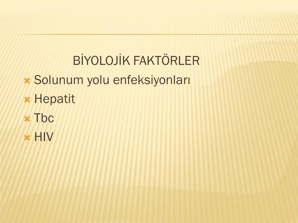 BİYOLOJİK FAKTÖRLER  Solunum yolu enfeksiyonları  Hepatit  Tbc  HIV