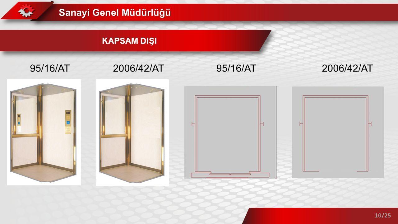 Sanayi Genel Müdürlüğü 10/25 KAPSAM DIŞI 95/16/AT 2006/42/AT