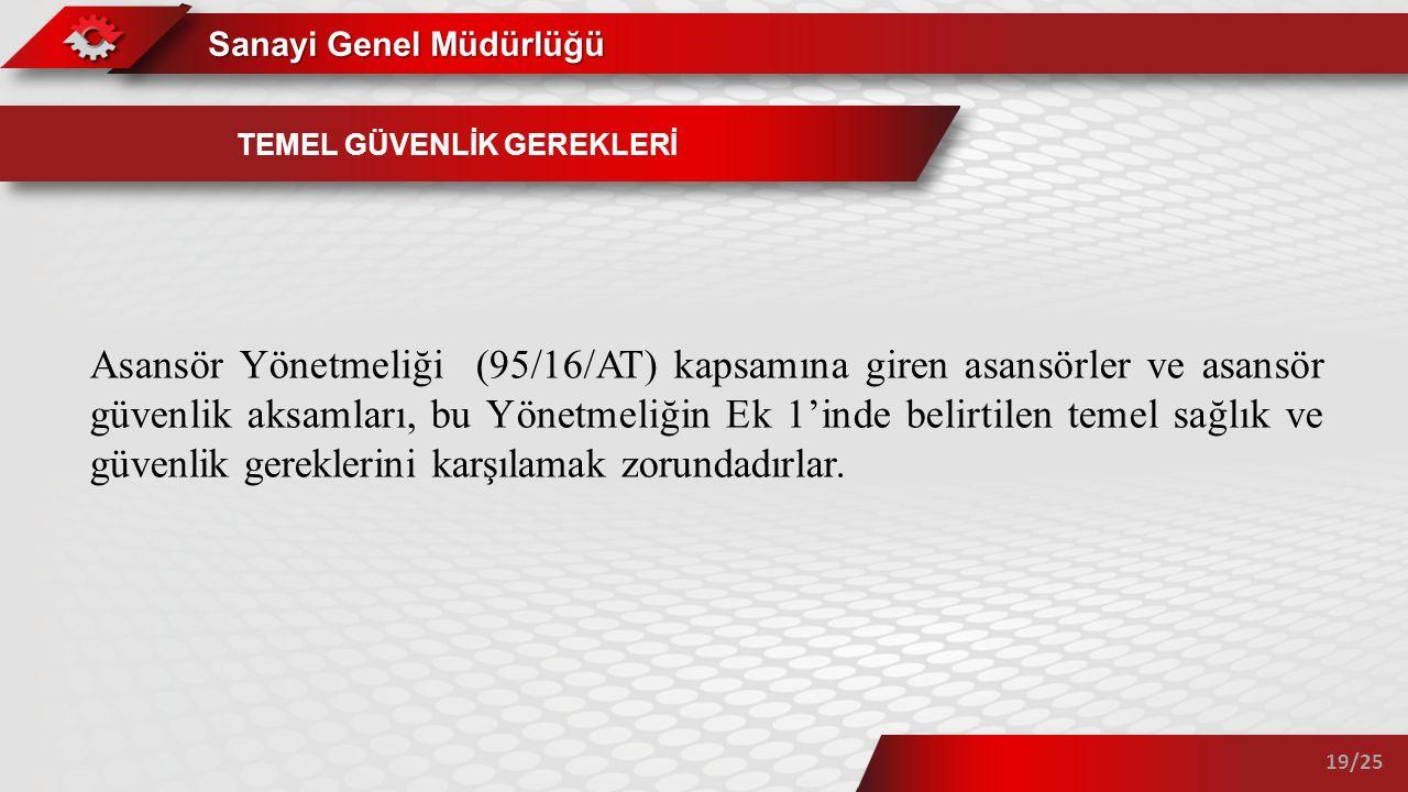 Sanayi Genel Müdürlüğü 19/25 TEMEL GÜVENLİK GEREKLERİ Asansör Yönetmeliği (95/16/AT) kapsamına giren asansörler ve asansör güvenlik aksamları, bu Yöne