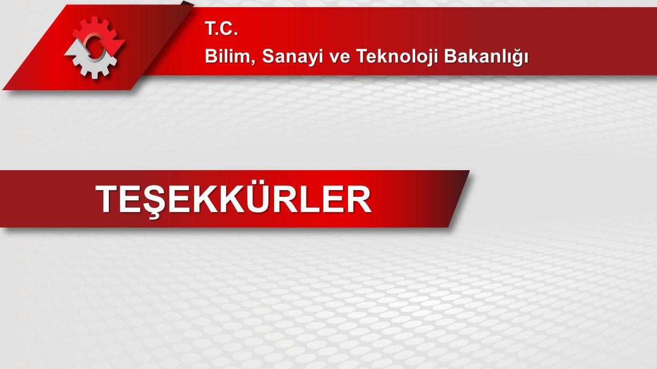 TEŞEKKÜRLER T.C. Bilim, Sanayi ve Teknoloji Bakanlığı