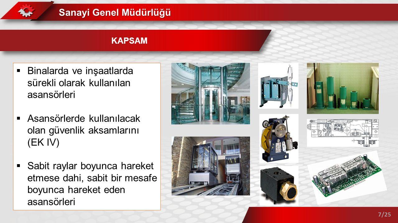 Sanayi Genel Müdürlüğü 7/25 KAPSAM  Binalarda ve inşaatlarda sürekli olarak kullanılan asansörleri  Asansörlerde kullanılacak olan güvenlik aksamlar