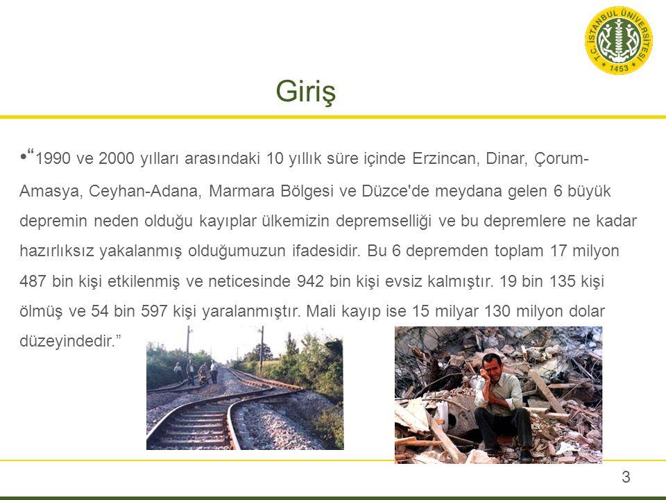 """Giriş """" 1990 ve 2000 yılları arasındaki 10 yıllık süre içinde Erzincan, Dinar, Çorum- Amasya, Ceyhan-Adana, Marmara Bölgesi ve Düzce'de meydana gelen"""