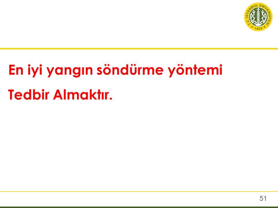 51 En iyi yangın söndürme yöntemi Tedbir Almaktır.