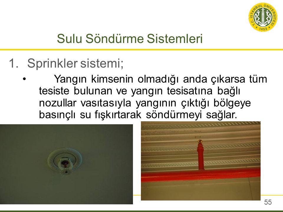 Sulu Söndürme Sistemleri 1.Sprinkler sistemi; Yangın kimsenin olmadığı anda çıkarsa tüm tesiste bulunan ve yangın tesisatına bağlı nozullar vasıtasıyl