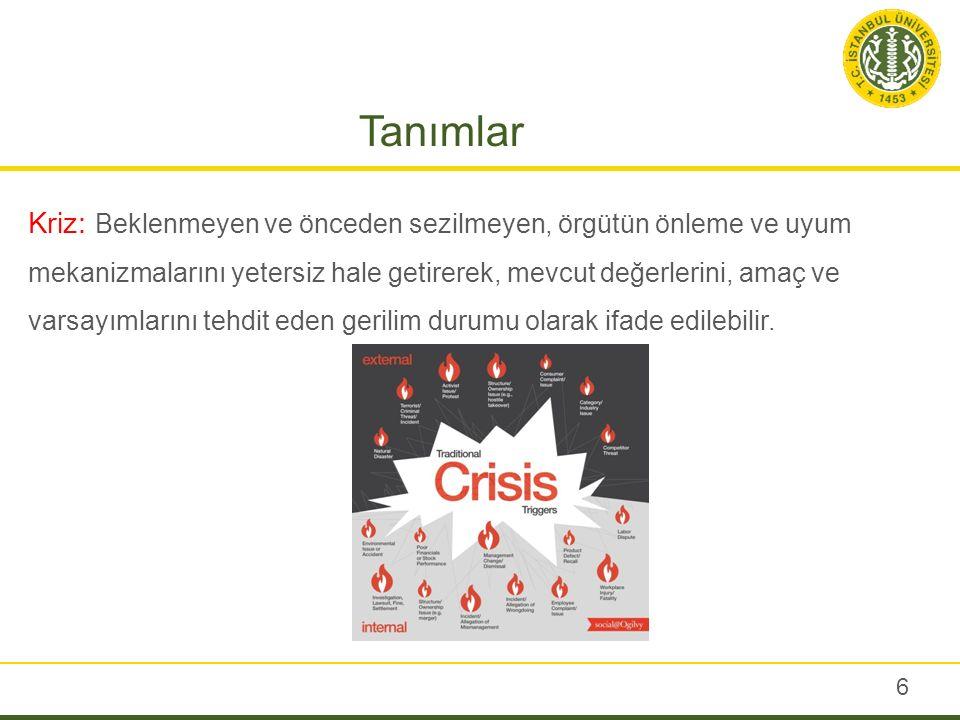 Tanımlar Kriz: Beklenmeyen ve önceden sezilmeyen, örgütün önleme ve uyum mekanizmalarını yetersiz hale getirerek, mevcut değerlerini, amaç ve varsayım