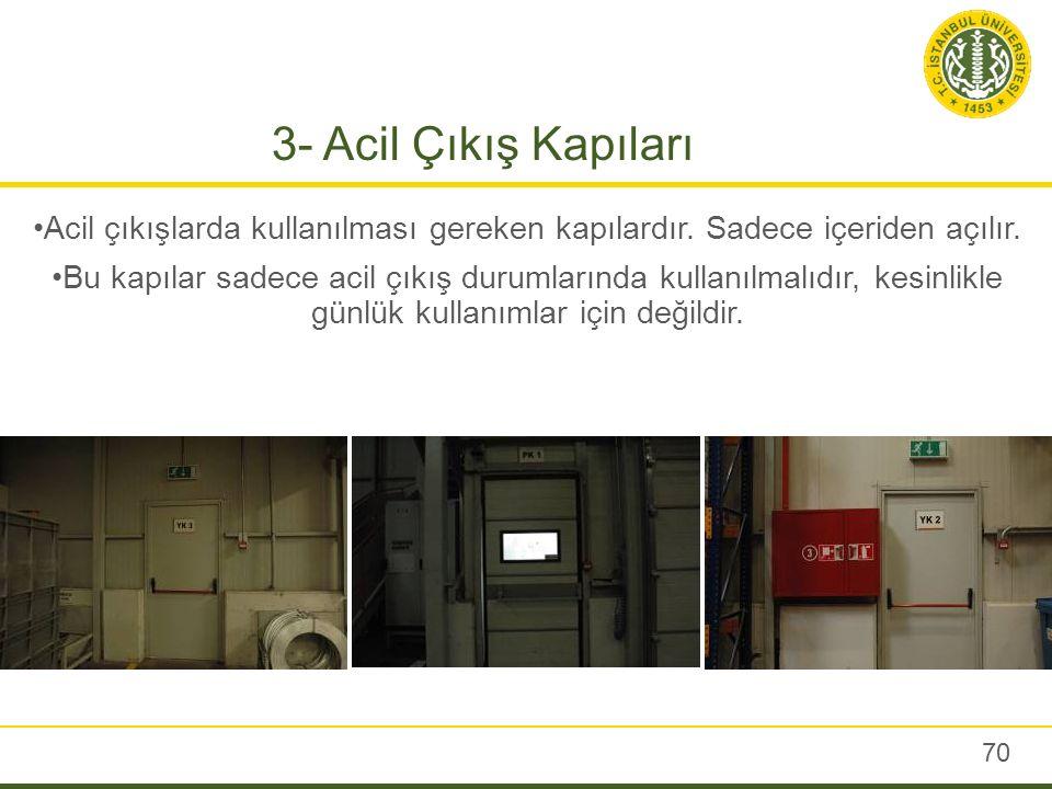 3- Acil Çıkış Kapıları 70 Acil çıkışlarda kullanılması gereken kapılardır. Sadece içeriden açılır. Bu kapılar sadece acil çıkış durumlarında kullanılm