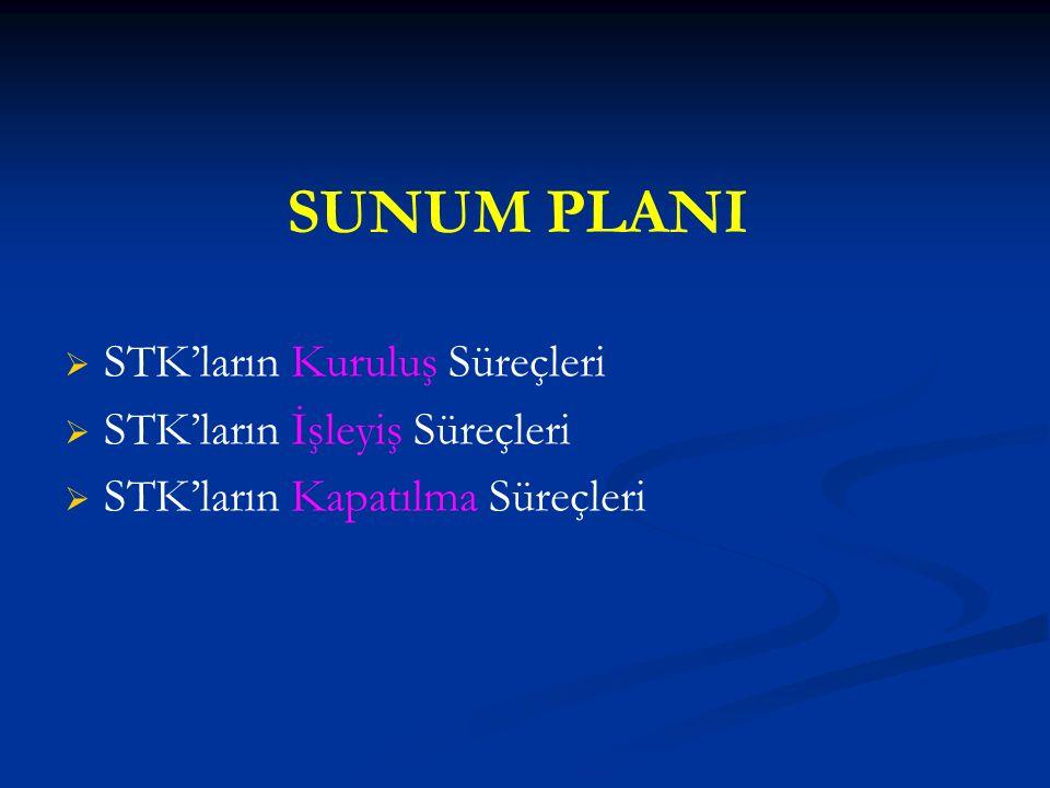 SUNUM PLANI   STK'ların Kuruluş Süreçleri   STK'ların İşleyiş Süreçleri   STK'ların Kapatılma Süreçleri