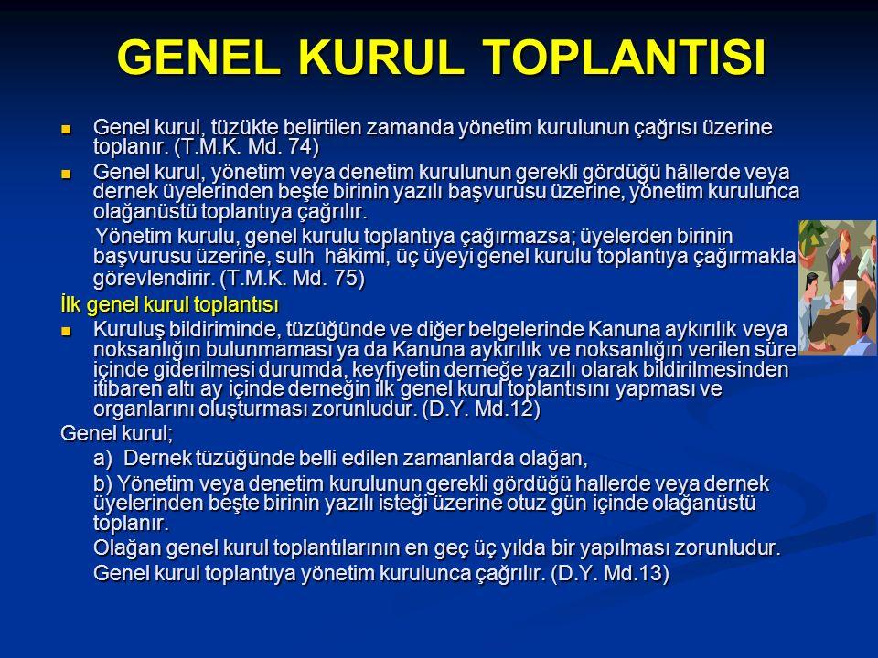 GENEL KURUL TOPLANTISI Genel kurul, tüzükte belirtilen zamanda yönetim kurulunun çağrısı üzerine toplanır. (T.M.K. Md. 74) Genel kurul, tüzükte belirt