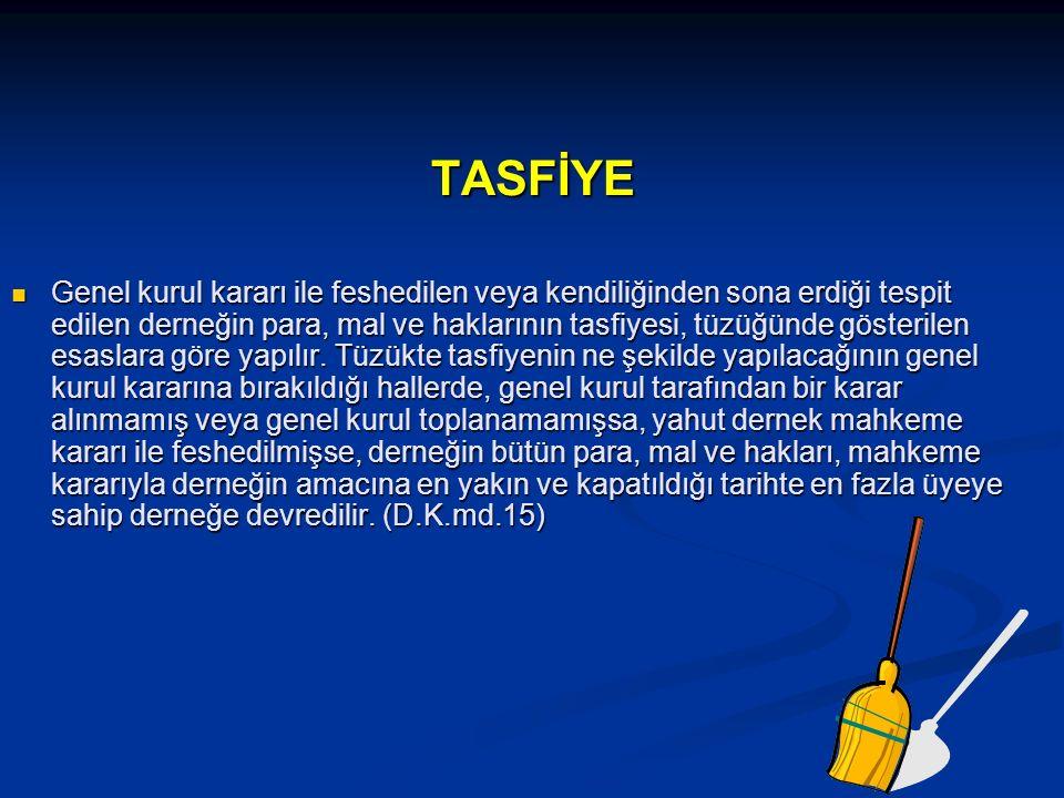 TASFİYE TASFİYE Genel kurul kararı ile feshedilen veya kendiliğinden sona erdiği tespit edilen derneğin para, mal ve haklarının tasfiyesi, tüzüğünde gösterilen esaslara göre yapılır.