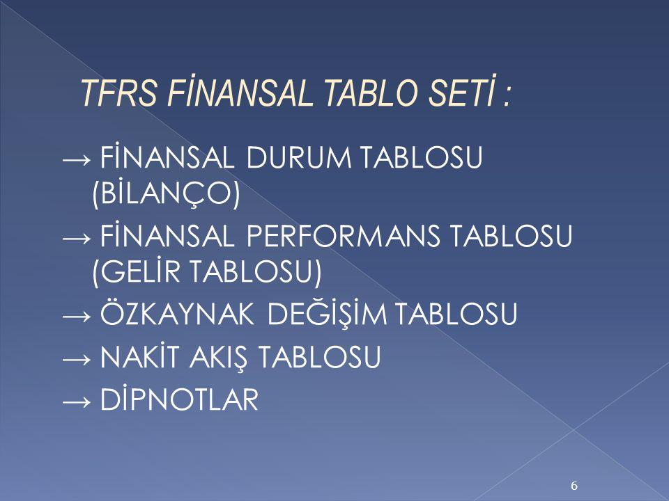 TFRS FİNANSAL TABLO SETİ : → FİNANSAL DURUM TABLOSU (BİLANÇO) → FİNANSAL PERFORMANS TABLOSU (GELİR TABLOSU) → ÖZKAYNAK DEĞİŞİM TABLOSU → NAKİT AKIŞ TABLOSU → DİPNOTLAR 6