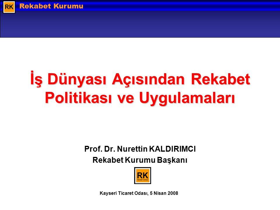 Hazırlayan: Barış EKDİ © 2008 Rekabet Kurumu İş Dünyası Açısından Rekabet Politikası ve Uygulamaları Prof.