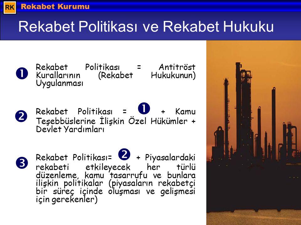 Hazırlayan: Barış EKDİ © 2008 Rekabet Kurumu Rekabet Politikası ve Rekabet Hukuku Rekabet Politikası = Antitröst Kurallarının (Rekabet Hukukunun) Uygulanması Rekabet Politikası =  + Kamu Teşebbüslerine İlişkin Özel Hükümler + Devlet Yardımları Rekabet Politikası=  + Piyasalardaki rekabeti etkileyecek her türlü düzenleme, kamu tasarrufu ve bunlara ilişkin politikalar (piyasaların rekabetçi bir süreç içinde oluşması ve gelişmesi için gerekenler)   