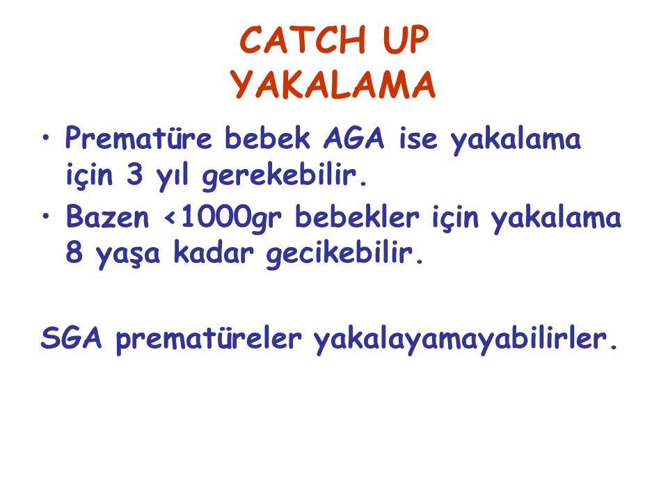CATCH UP YAKALAMA Prematüre bebek AGA ise yakalama için 3 yıl gerekebilir. Bazen <1000gr bebekler için yakalama 8 yaşa kadar gecikebilir. SGA prematür