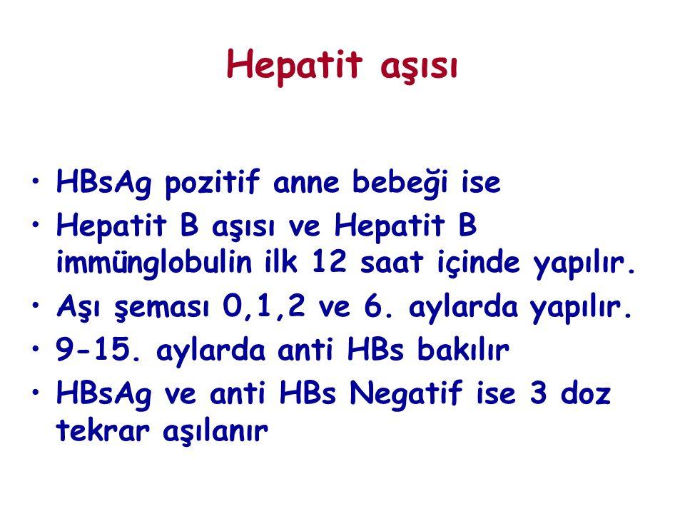 Hepatit aşısı HBsAg pozitif anne bebeği ise Hepatit B aşısı ve Hepatit B immünglobulin ilk 12 saat içinde yapılır. Aşı şeması 0,1,2 ve 6. aylarda yapı