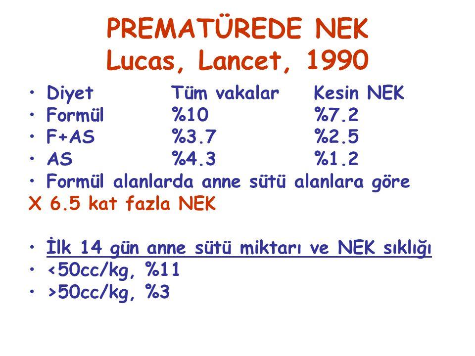 PREMATÜREDE NEK Lucas, Lancet, 1990 Diyet Tüm vakalarKesin NEK Formül%10%7.2 F+AS%3.7%2.5 AS%4.3%1.2 Formül alanlarda anne sütü alanlara göre X 6.5 kat fazla NEK İlk 14 gün anne sütü miktarı ve NEK sıklığı <50cc/kg, %11 >50cc/kg, %3
