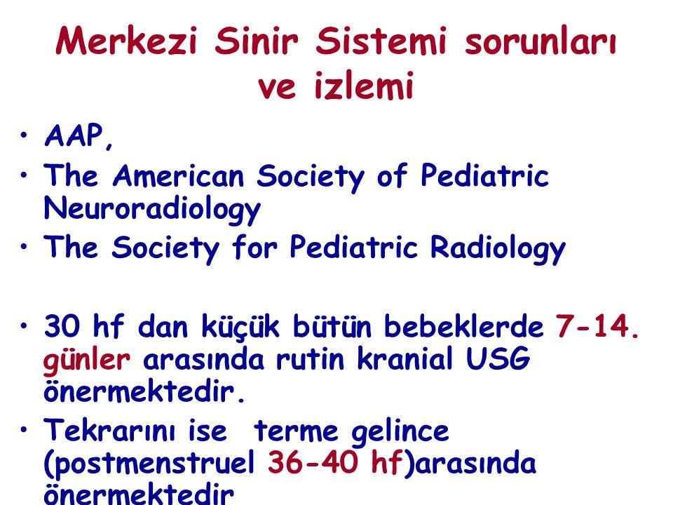 Merkezi Sinir Sistemi sorunları ve izlemi AAP, The American Society of Pediatric Neuroradiology The Society for Pediatric Radiology 30 hf dan küçük bütün bebeklerde 7-14.