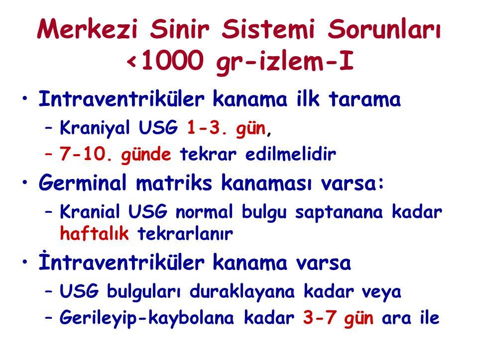 Merkezi Sinir Sistemi Sorunları <1000 gr-izlem-I Intraventriküler kanama ilk tarama –Kraniyal USG 1-3. gün, –7-10. günde tekrar edilmelidir Germinal m