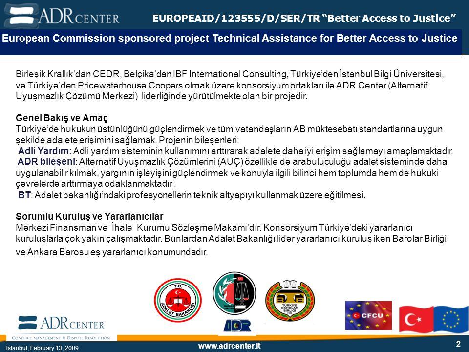 www.adrcenter.it Istanbul, February 13, 2009 EUROPEAID/123555/D/SER/TR Better Access to Justice Çatışma Çatışma = kaos Çözüm = yapısallaştır, açıklık ve güvenlik: Süreci yönetin Düşünüşü yapılandırın İletişimi yönetin, çıkmazı açın, pozisyonlardan menfaatlere geçin