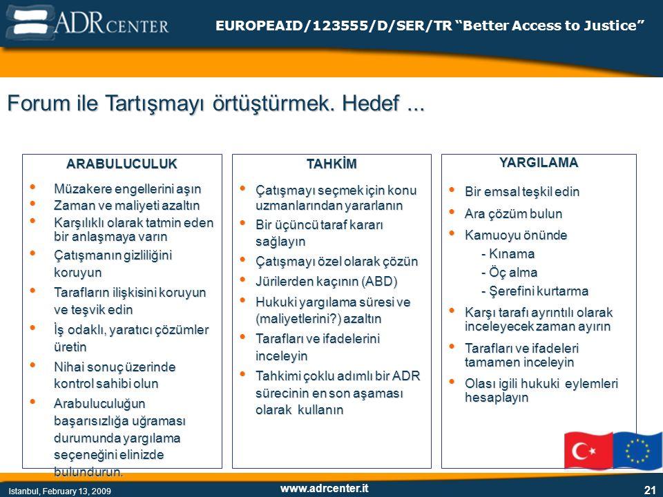 www.adrcenter.it Istanbul, February 13, 2009 EUROPEAID/123555/D/SER/TR Better Access to Justice 21 Forum ile Tartışmayı örtüştürmek.