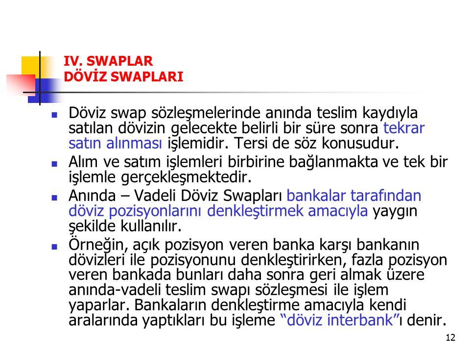 12 IV. SWAPLAR DÖVİZ SWAPLARI Döviz swap sözleşmelerinde anında teslim kaydıyla satılan dövizin gelecekte belirli bir süre sonra tekrar satın alınması