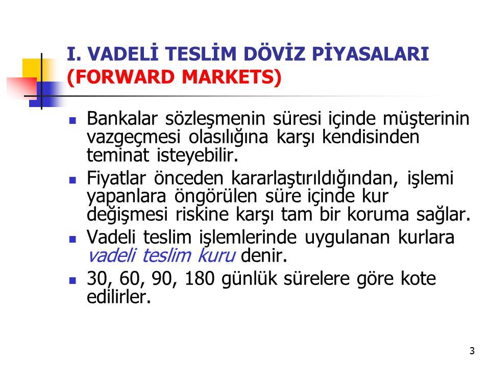 14 VII.FAİZ ARBİTRAJI Arbitraj mekanizmasının kısa vadeli mali piyasaları uygulanmasıdır.