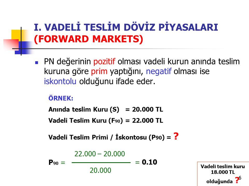 6 I. VADELİ TESLİM DÖVİZ PİYASALARI (FORWARD MARKETS) PN değerinin pozitif olması vadeli kurun anında teslim kuruna göre prim yaptığını, negatif olmas