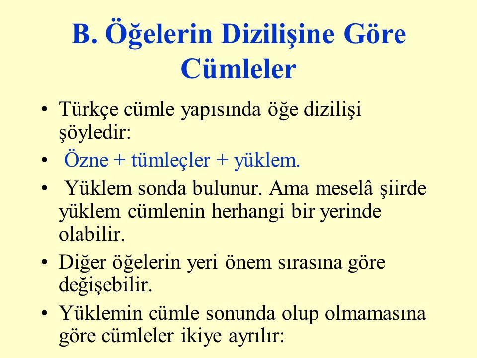 B. Öğelerin Dizilişine Göre Cümleler Türkçe cümle yapısında öğe dizilişi şöyledir: Özne + tümleçler + yüklem. Yüklem sonda bulunur. Ama meselâ şiirde