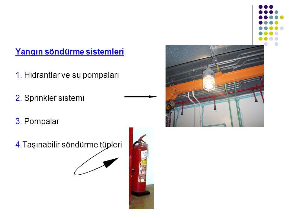 Yangın söndürme sistemleri 1. Hidrantlar ve su pompaları 2. Sprinkler sistemi 3. Pompalar 4.Taşınabilir söndürme tüpleri