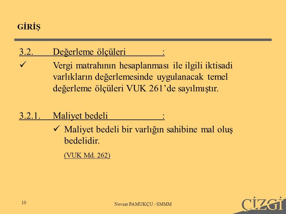 GİRİŞ 10 Nevzat PAMUKÇU - SMMM 3.2.Değerleme ölçüleri: Vergi matrahının hesaplanması ile ilgili iktisadi varlıkların değerlemesinde uygulanacak temel değerleme ölçüleri VUK 261'de sayılmıştır.