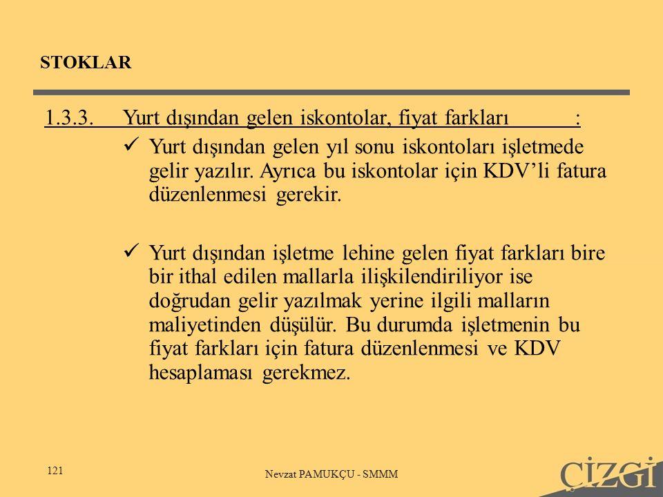 STOKLAR 121 Nevzat PAMUKÇU - SMMM 1.3.3.Yurt dışından gelen iskontolar, fiyat farkları: Yurt dışından gelen yıl sonu iskontoları işletmede gelir yazılır.