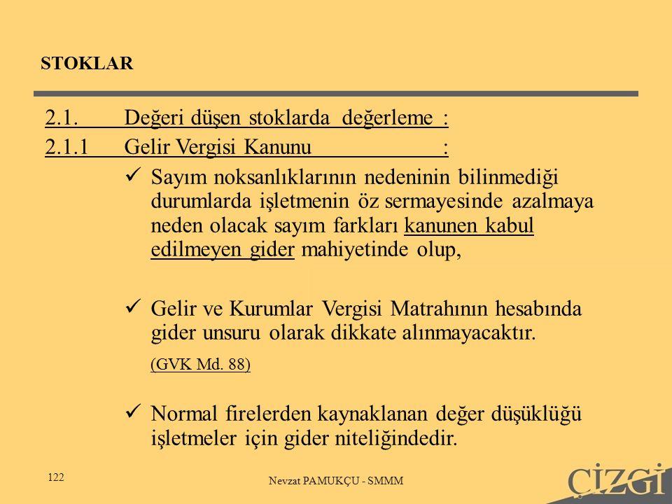 STOKLAR 122 Nevzat PAMUKÇU - SMMM 2.1.Değeri düşen stoklarda değerleme: 2.1.1Gelir Vergisi Kanunu: Sayım noksanlıklarının nedeninin bilinmediği durumlarda işletmenin öz sermayesinde azalmaya neden olacak sayım farkları kanunen kabul edilmeyen gider mahiyetinde olup, Gelir ve Kurumlar Vergisi Matrahının hesabında gider unsuru olarak dikkate alınmayacaktır.